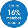 Up to 16% Member Rebate